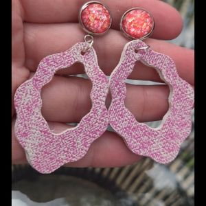 Boho Pink acid wash faux leather earrings